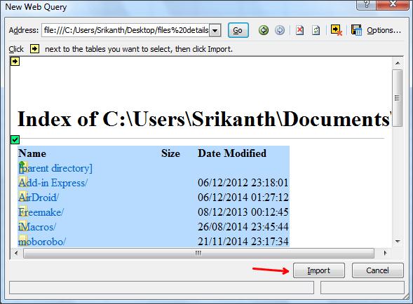 Cómo obtener una lista de archivos de una carpeta en Excel 7