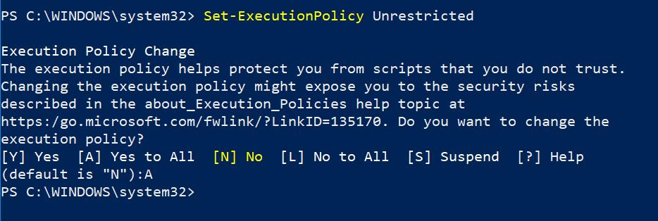 PowerShell: El archivo no se puede cargar porque la ejecución de scripts está deshabilitada en este sistema.
