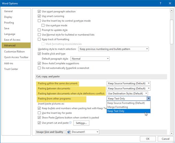 Cómo pegar siempre Sólo texto sin formato en Microsoft Word