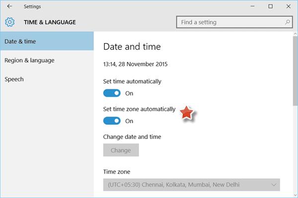 Configuración automática de la zona horaria en Windows 10