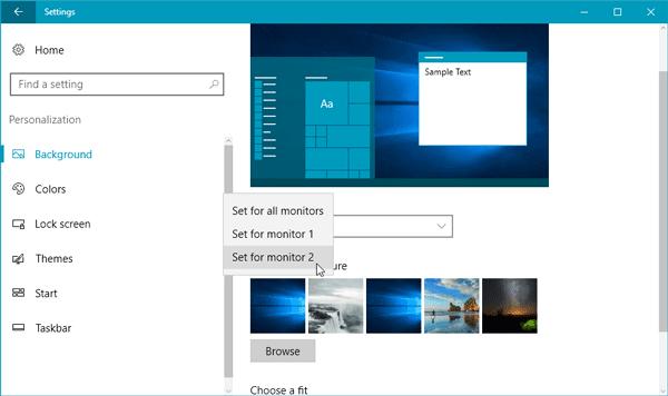 Cómo configurar diferentes fondos de pantalla en monitores duales en Windows 10 2