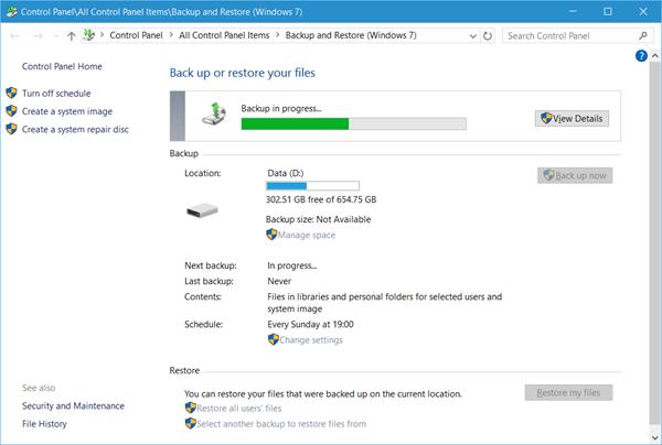Cómo usar la herramienta Copias de seguridad y restauración de Windows en Windows 10
