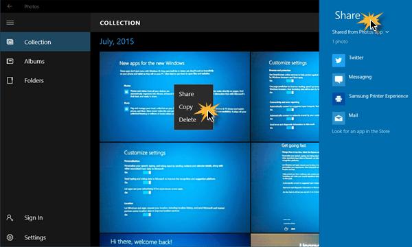 Cómo compartir archivos de imagen y vídeo mediante la aplicación Windows 10 Photos App