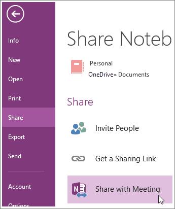 Cómo compartir un cuaderno OneNote durante una reunión