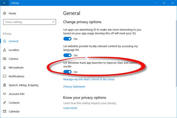 Mostrar que la configuración de la mayoría de las aplicaciones usadas está deshabilitada o en gris en Windows 10