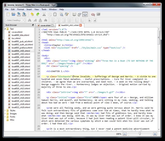 Edite eBooks con formato EPUB con Sigil - Un editor gratuito y de código abierto