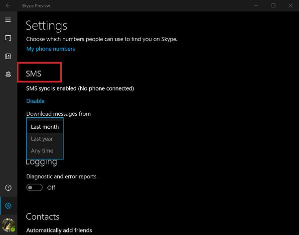 Habilitar la sincronización de SMS entre dispositivos Windows 10 y Skype