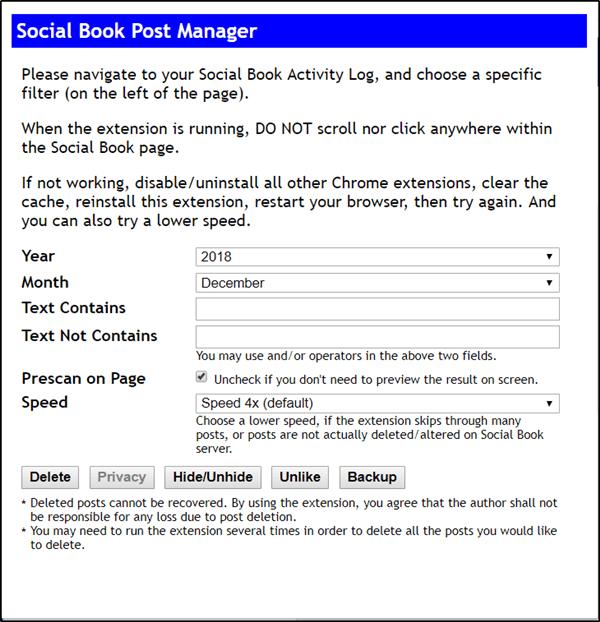 Elimina todos tus mensajes de Facebook de hace una década con Social Book Post Manager