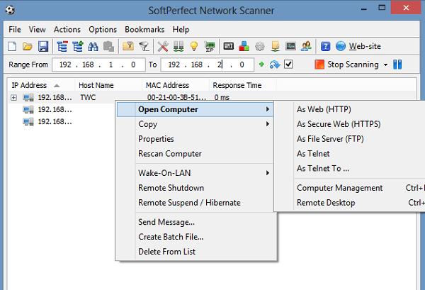SoftPerfect Network Scanner: Una herramienta gratuita de escáner de red para Windows 2