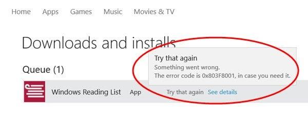 Algo salió mal 0x803F8001/0x87AF000B Windows 10 Error de almacenamiento