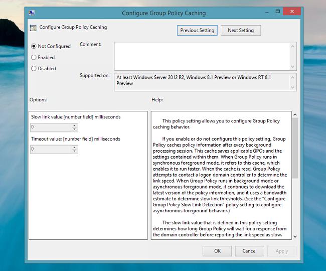Acelerar el inicio de sesión en Windows 8.1 con almacenamiento en caché de directivas de grupo