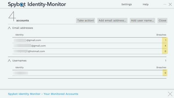 Spybot Identity Monitor le permite encontrar cuentas en línea que han sido violadas