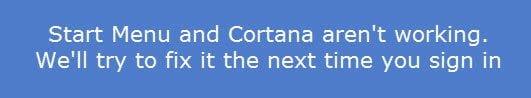 El menú Inicio, Cortana y la búsqueda en la barra de tareas no funcionan en Windows 10