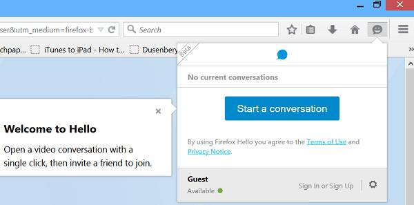 Cómo usar e iniciar una conversación usando Firefox Hola 2
