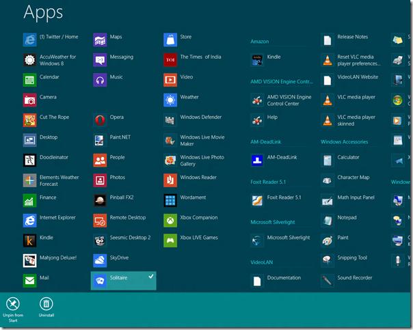 Crear, administrar, nombrar, grupos de aplicaciones de la pantalla de inicio en Windows 8