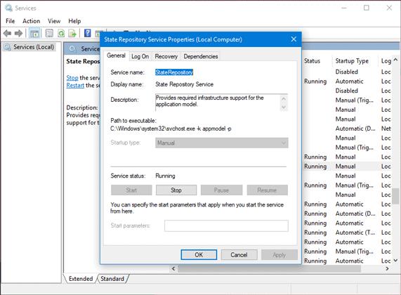 Servicio Host State Repository Servicio problema de alto uso de CPU en Windows 10