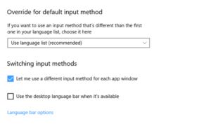 Corrección de los cambios de idioma del teclado de Windows 10 por sí solo