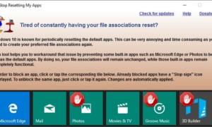 Impedir que Windows 10 restablezca las aplicaciones predeterminadas con Detener el restablecimiento de Mis aplicaciones