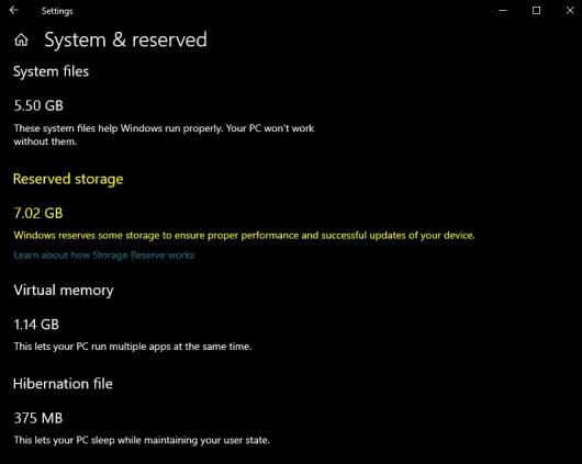 Explicación del almacenamiento reservado en Windows 10