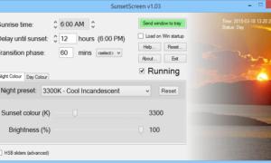 SunsetScreen: Software gratuito para la reducción del resplandor de las pantallas de ordenador para Windows