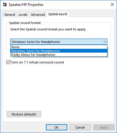 Cómo habilitar el sonido envolvente sónico de Windows en Windows 10