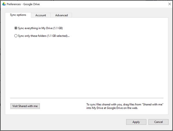 Selección de carpetas específicas para sincronizar con la sincronización selectiva de la unidad de Google