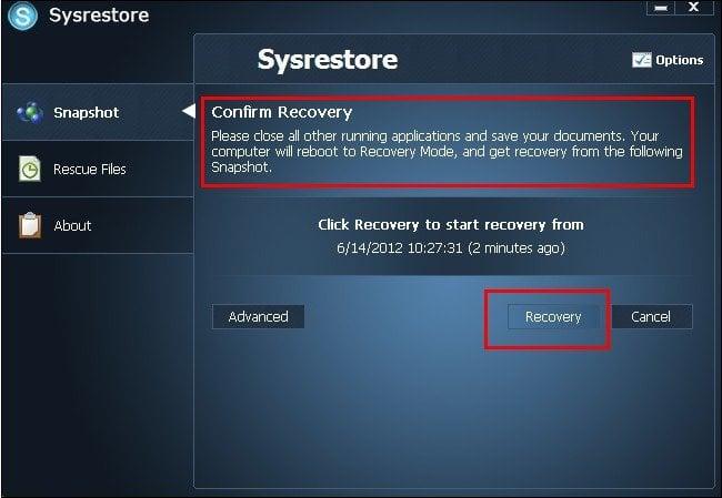 SysRestore: Utilidad gratuita de copia de seguridad y restauración del sistema para Windows 4