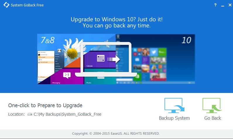 Descuento desde Windows 10 utilizando el sistema EaseUS GoBack Free