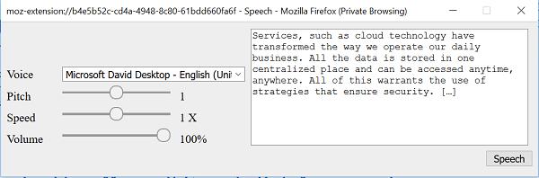 Convertir texto a voz sin conexión con la extensión de navegador TTFox Firefox