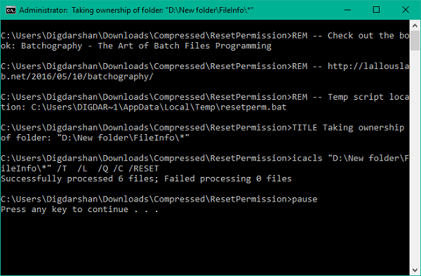Cómo restablecer los permisos de archivos NTFS en Windows 10/8/7 2