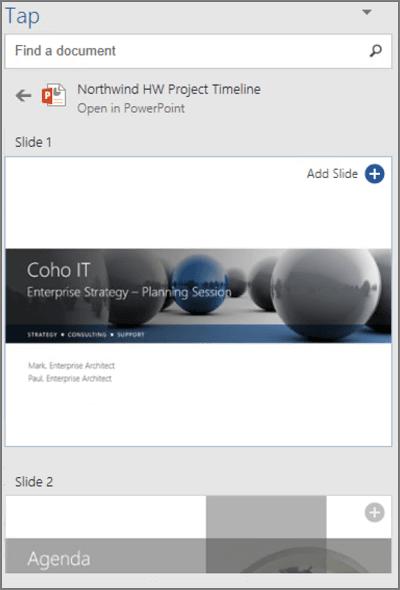 Cómo buscar, insertar y reutilizar contenido con Tap in Outlook