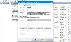 Código de error 0x80070057 para el Programador de tareas en Windows 10