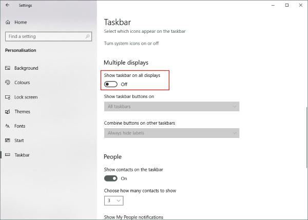 Cómo desactivar la barra de tareas de Windows en la segunda pantalla
