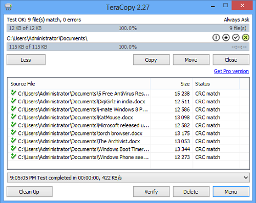 TeraCopy, un archivo rápido Copiar y mover freeware para Windows