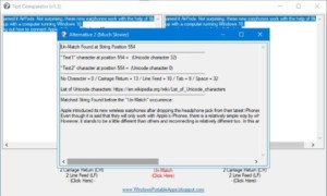Compare dos archivos de texto con Text Comparator para Windows 10