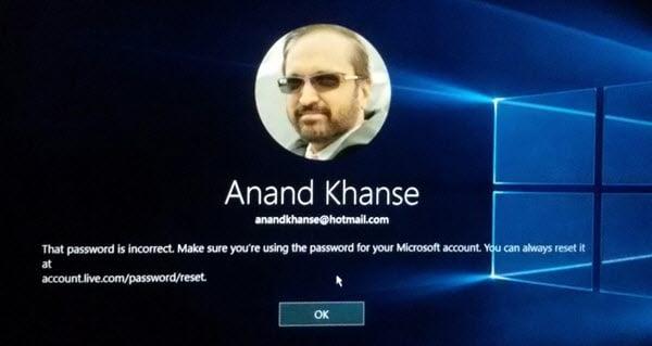 Esa contraseña es un mensaje incorrecto durante el inicio de sesión de Windows 10