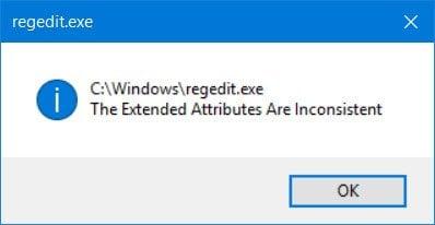 Corrección: Los atributos extendidos son inconsistentes en Windows 10