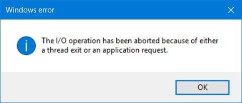 La operación de E/S se ha interrumpido debido a una salida de la rosca o a una solicitud de aplicación.