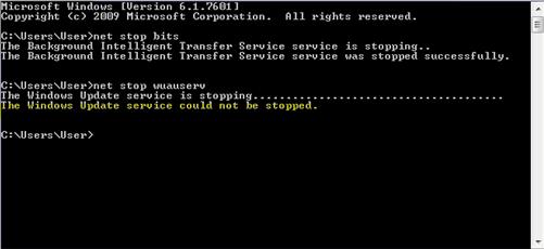 El servicio Windows Update no se podía detener