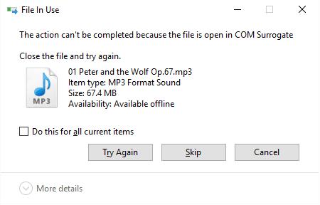 La acción no puede completarse porque el archivo está abierto en COM Surrogate