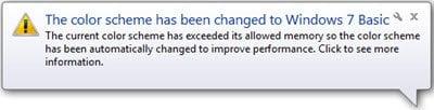 Desactivar Cambiar el esquema de color para mejorar el mensaje de rendimiento