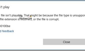 Este archivo no es reproducible, error 0x10100be en la aplicación Movies o WMP
