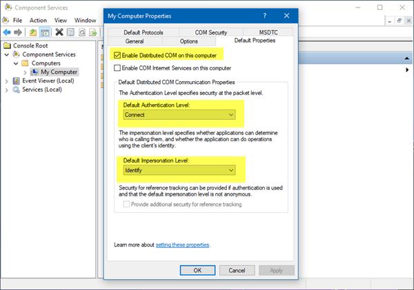 El servidor no se registró en DCOM en el tiempo de espera requerido.