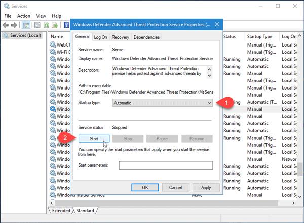 El servicio de este programa se ha detenido, Código de error 0x800106ba, en Windows Defender