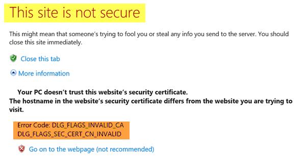 Este sitio no es un mensaje seguro en Edge, IE, Chrome o Firefox.