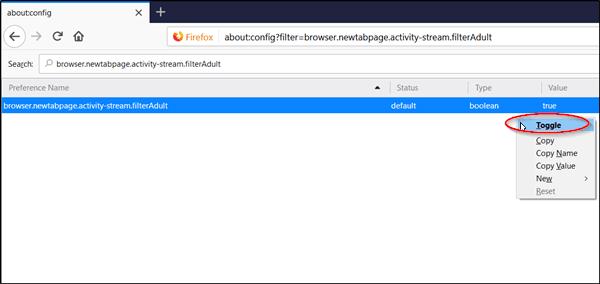Cómo activar o desactivar el filtro para adultos en la página Nueva pestaña del navegador Firefox