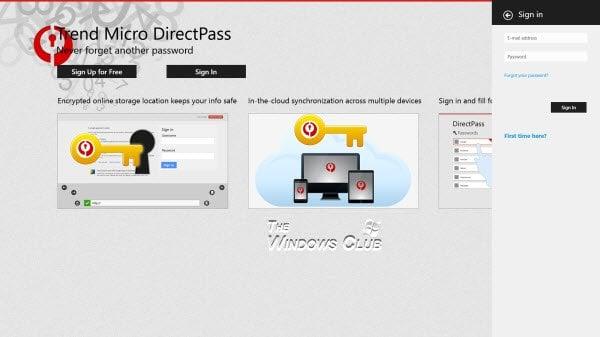 Trend Micro DirectPass Password Manager para inicios de sesión confidenciales