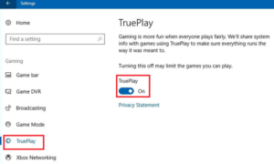 Característica de TruePlay anti-cheat gaming en Windows 10
