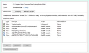 Restaurar TrustedInstaller como propietario y sus permisos de forma predeterminada en Windows 10