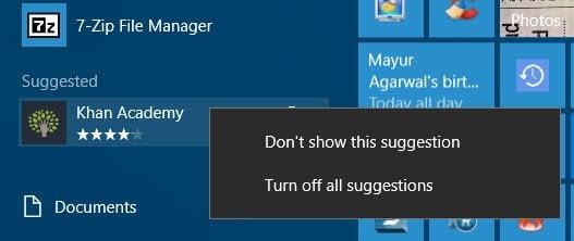 Desactivar los anuncios del menú Inicio sugerido en Windows 10 2